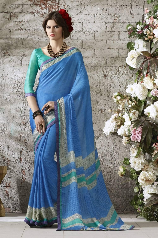 Printed Satin Saree (Sari) in Blue