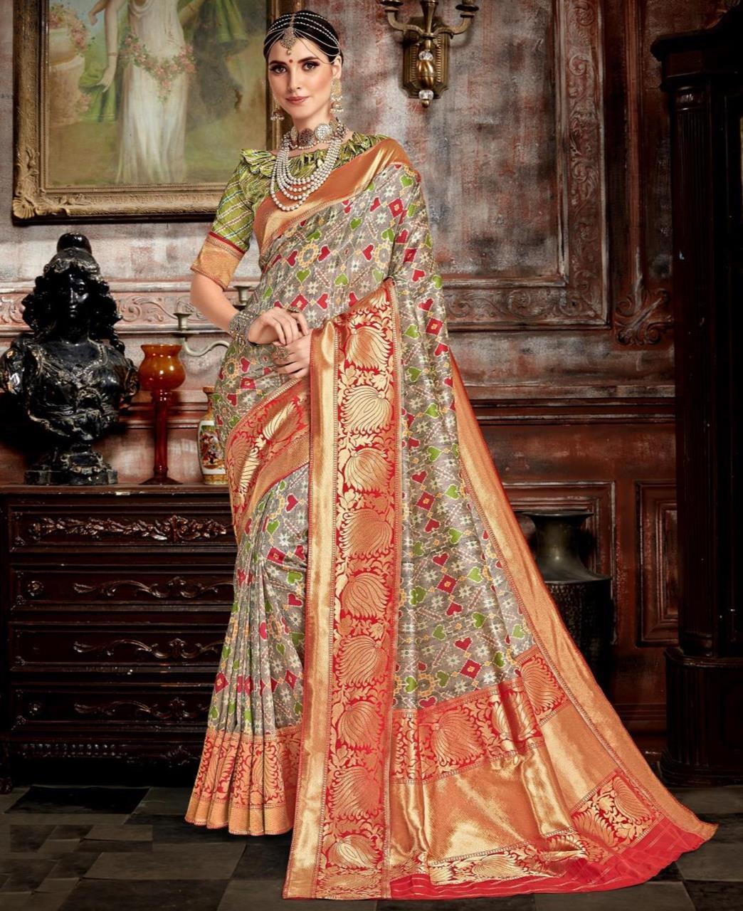 Woven Silk Saree(Sari) in Gray