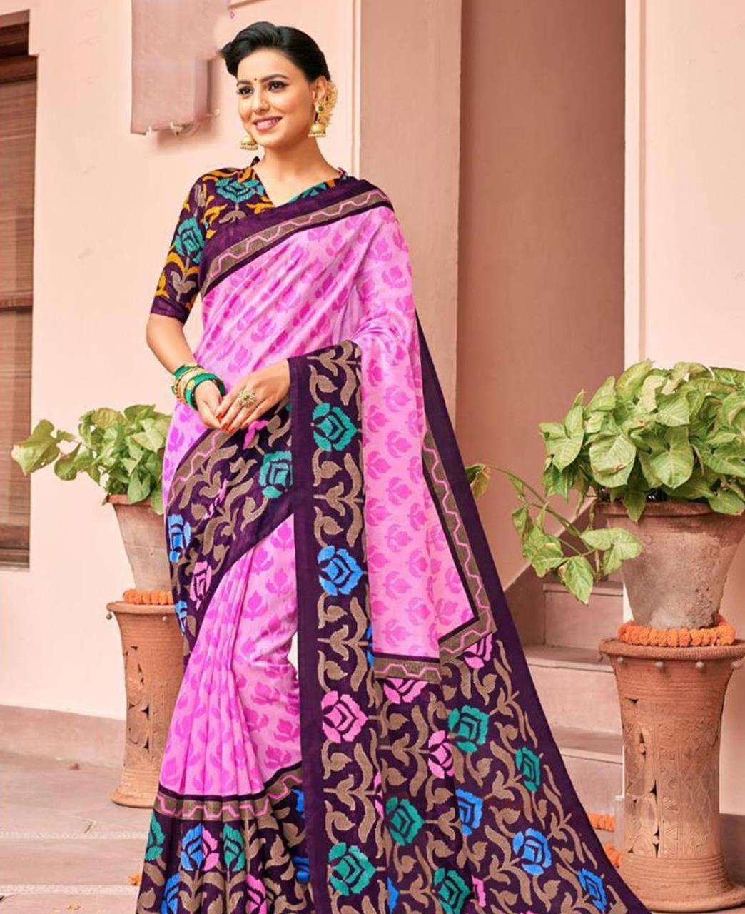 Printed Silk Saree in Pink