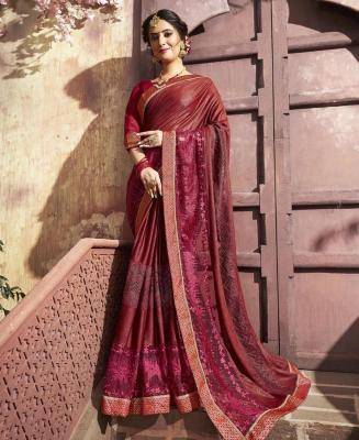 Embroidered Georgette & Net Saree in Maroon