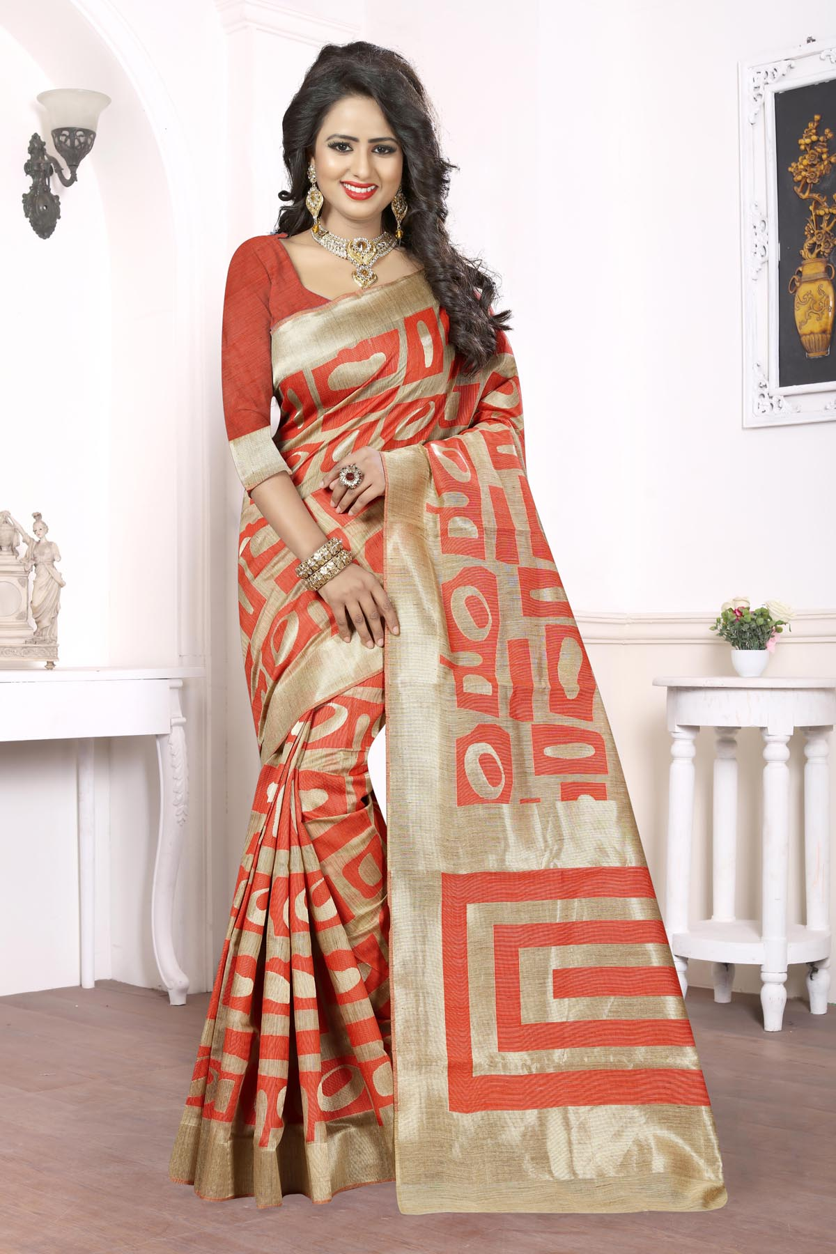Printed Art Silk Saree (sari) in Orange