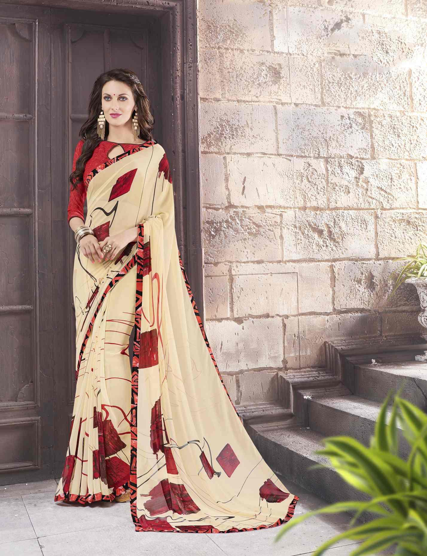 Printed Georgette Saree (sari) in Cream