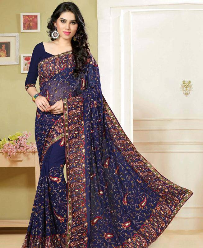 Embroidered Georgette Saree (Sari) in Blue