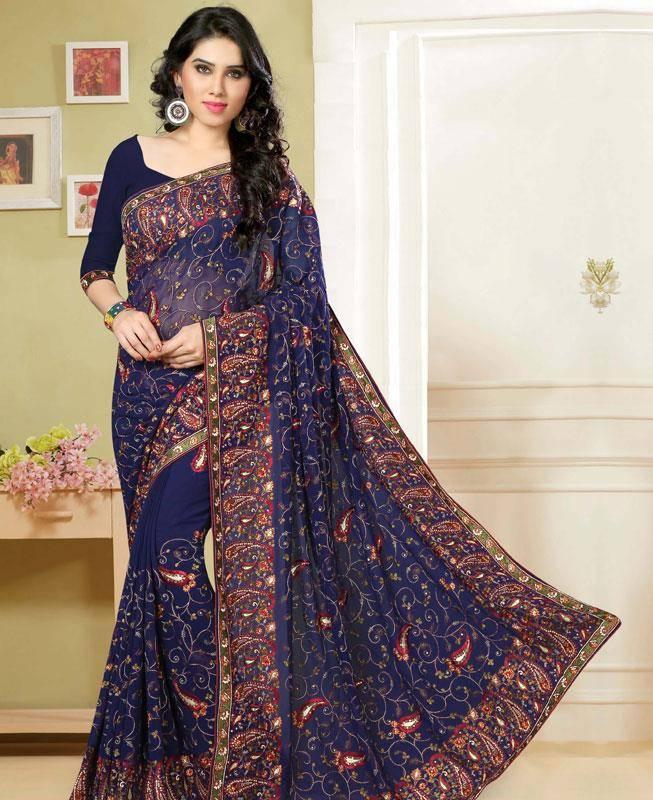 Embroidered Georgette Saree (Sari) in Blue