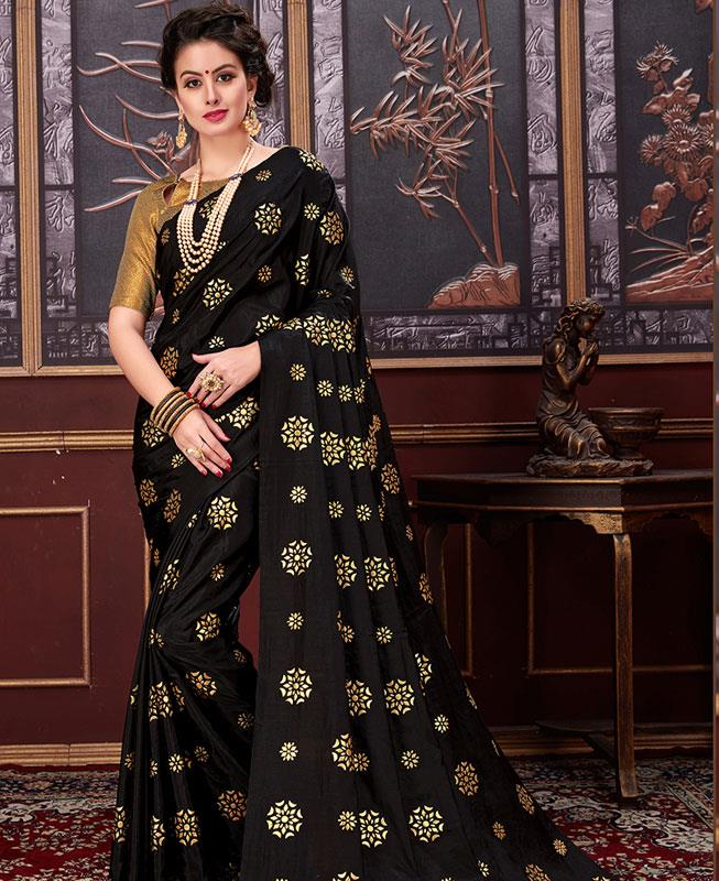 Printed Silk Saree (Sari) in Black