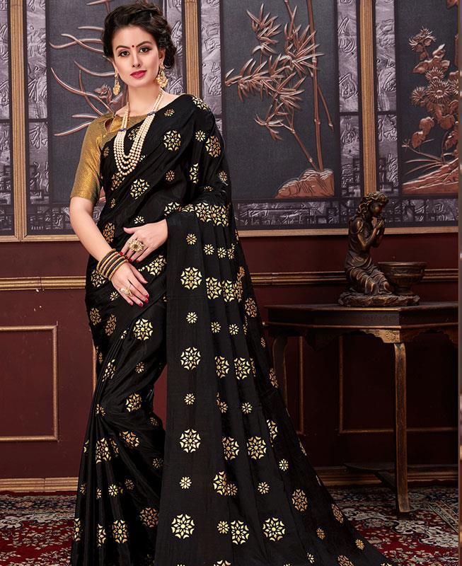 Printed Silk Saree (Sari) in Black