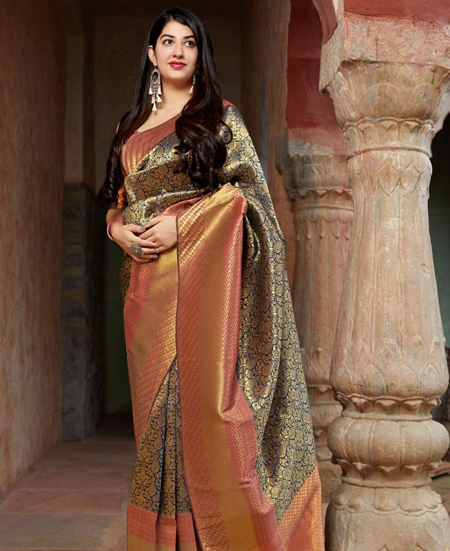 Woven Banarasi Silk Saree (Sari) in Navyblue