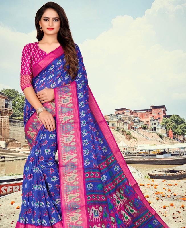 Cotton Saree in Blue