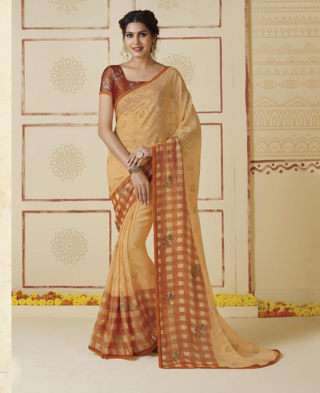 Printed Chiffon Saree in Rust Chikoo