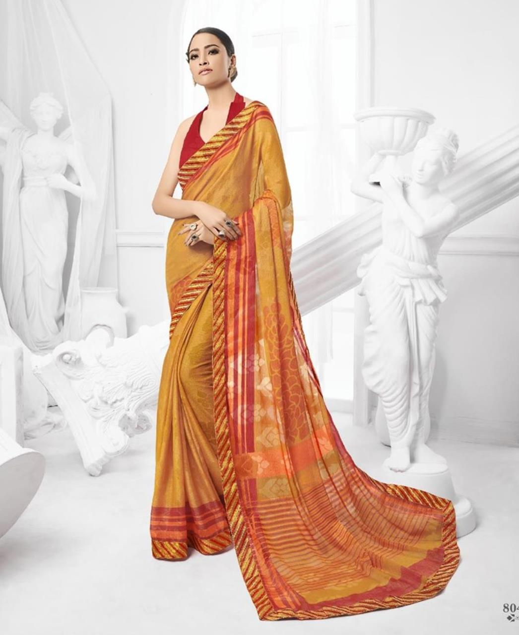 Printed Brasso Saree (Sari) in Yellow