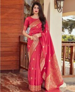 Silk Saree in Redish Pink