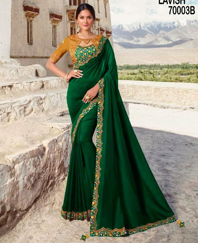 Zari Silk Saree (Sari) in Green
