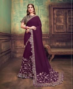 Sequins Silk Saree in Deep Purple