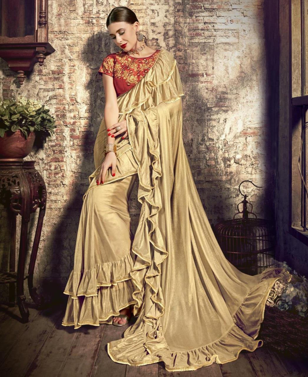 Plain Silk Saree (Sari) in Gold