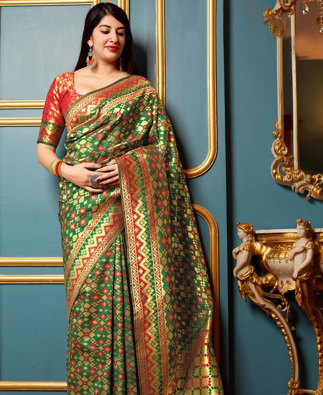 Woven Banarasi Silk Saree in Green