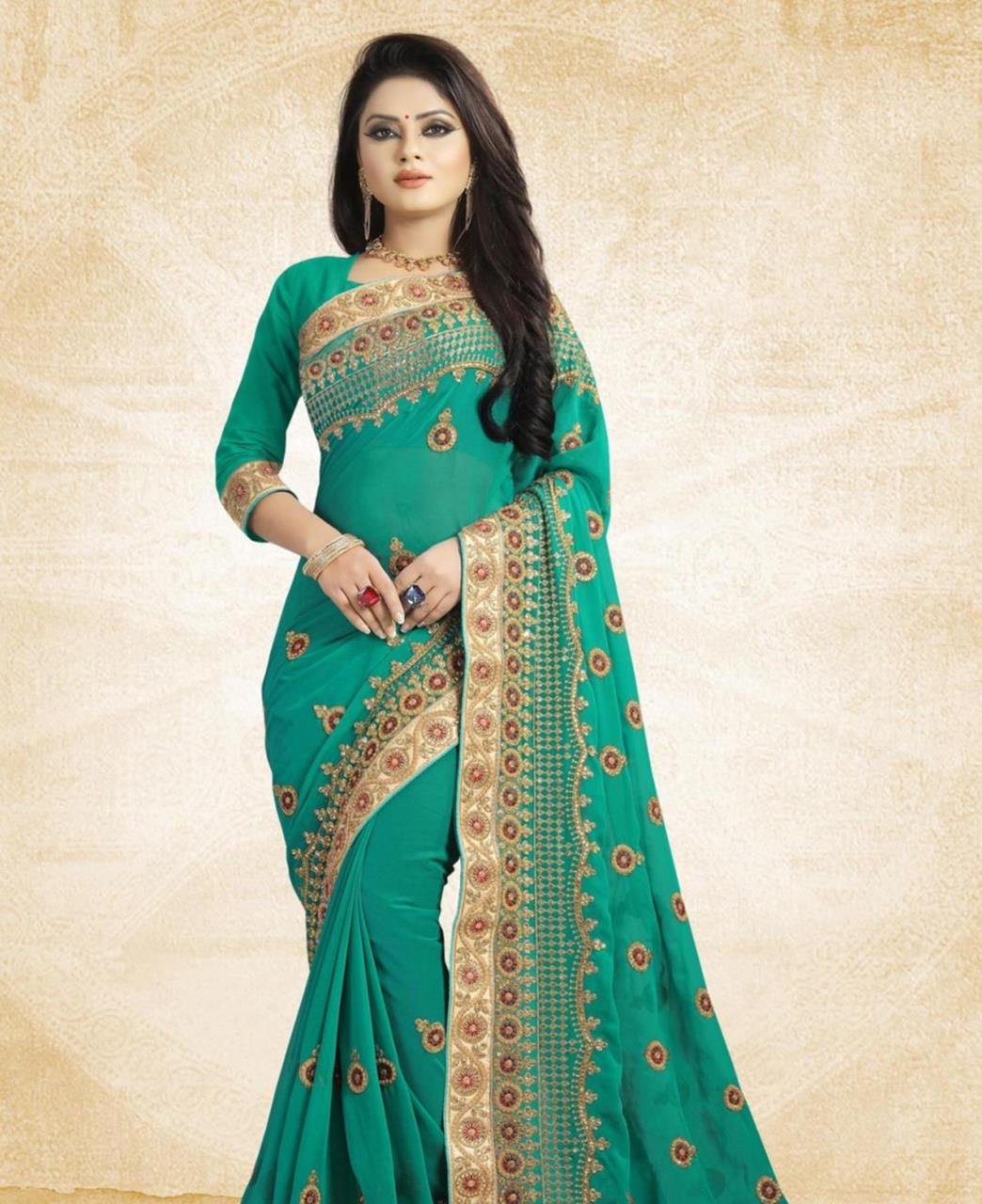83f19cb95b Embroidered Georgette Saree(Sari) in SEAGREEN