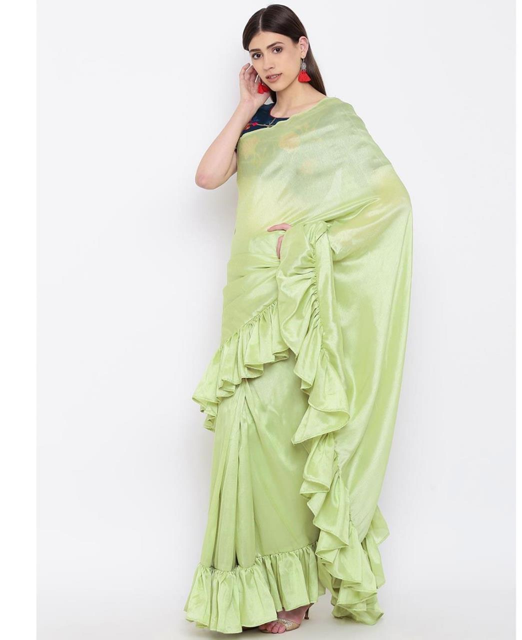 Plain Silk Saree (Sari) in MINTCREAM