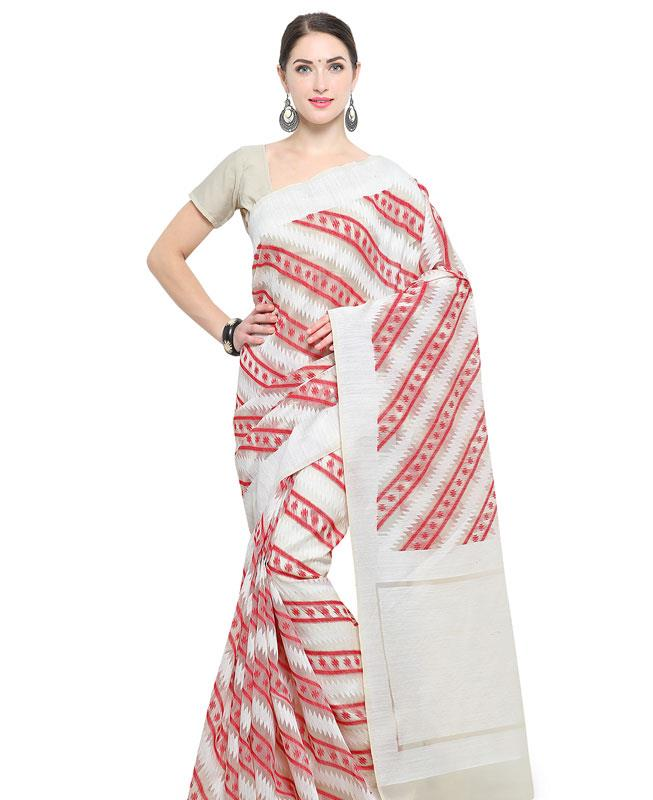 Cotton Saree in White