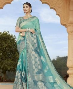 Silk Saree in Sky Blue  ,  Blue