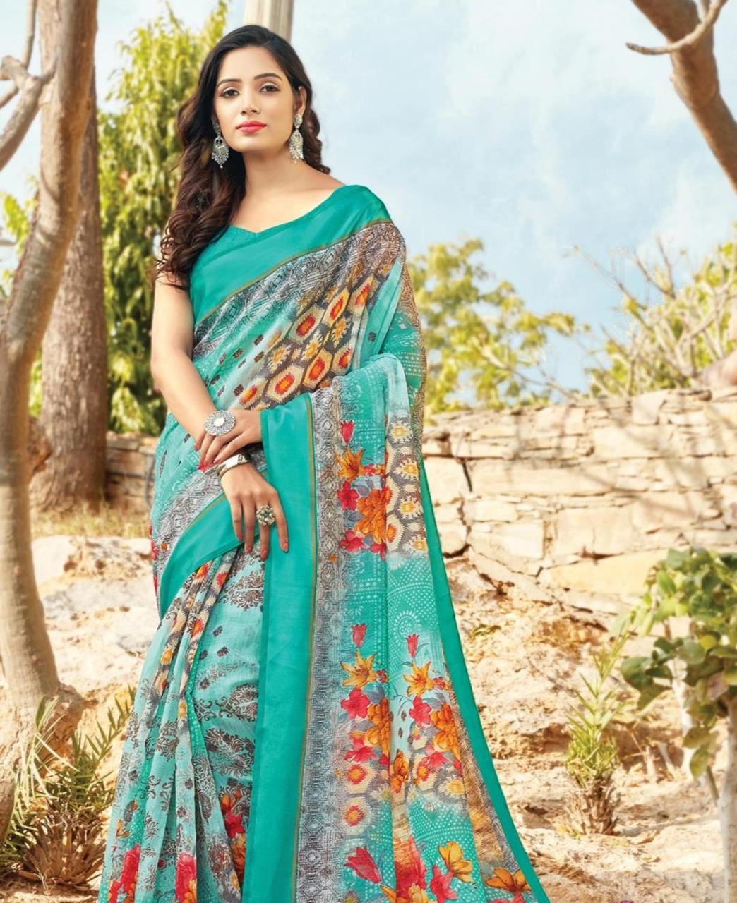 Printed Cotton Saree in Blue