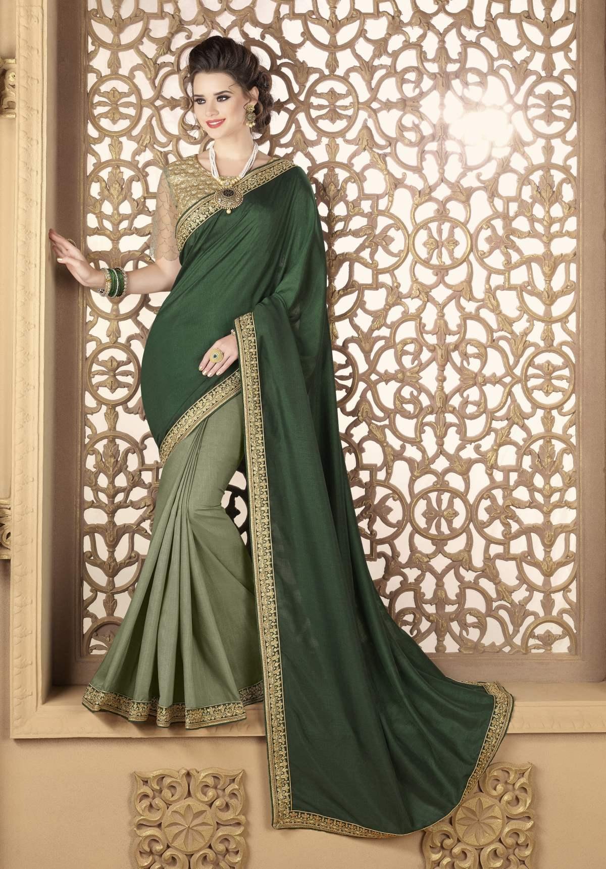 Embroidered Silk Saree (Sari) in Green