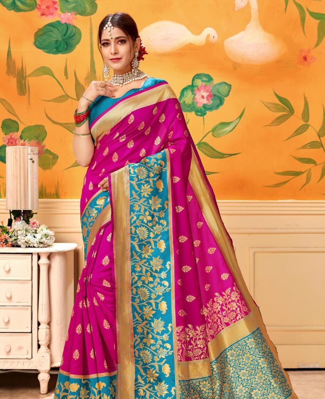 Jacquard Silk Saree in Pink