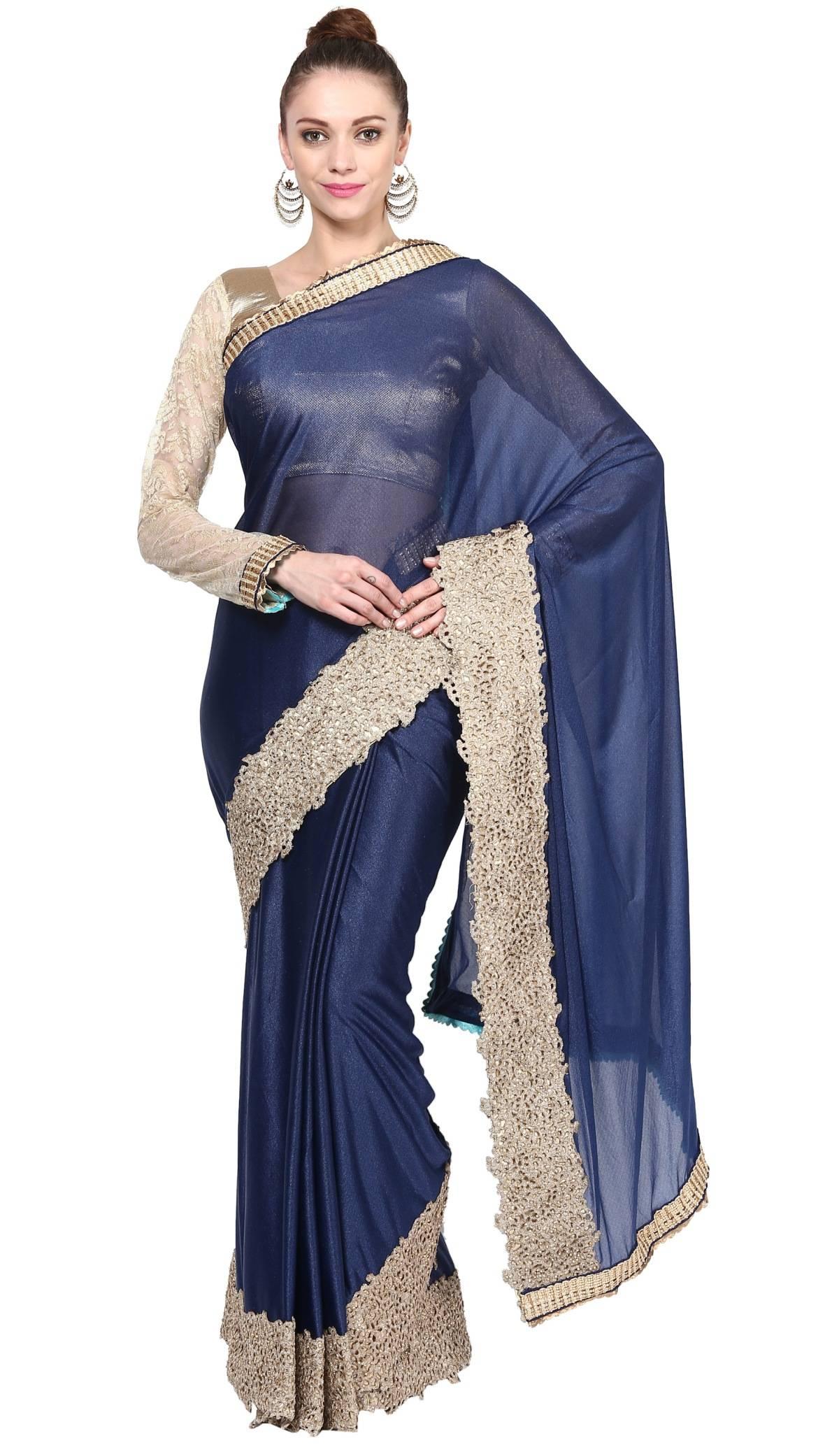 Embellishments Lycra Saree (Sari) in Blue