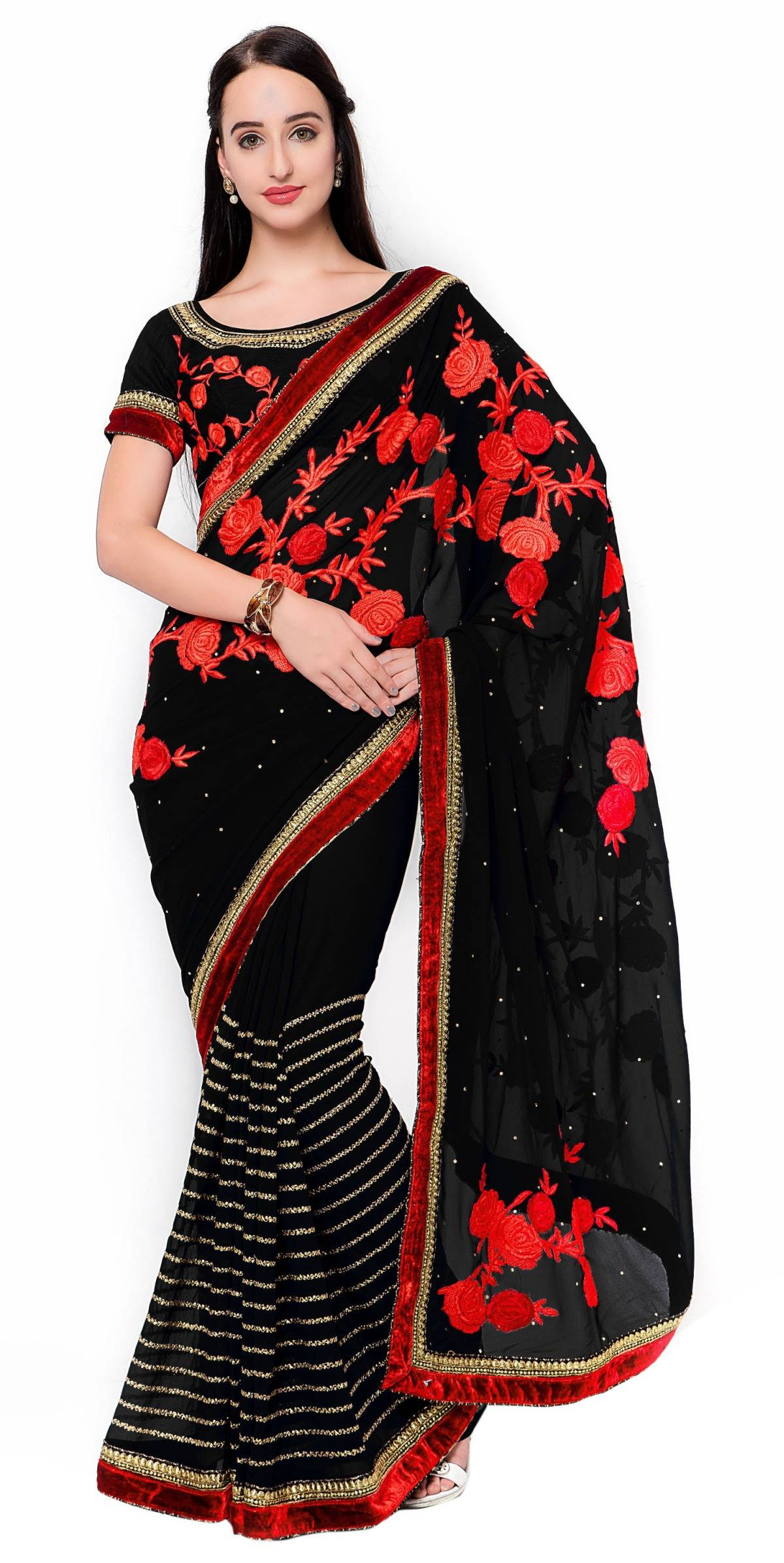 Embroidered Faux Georgette Saree (Sari) in Black