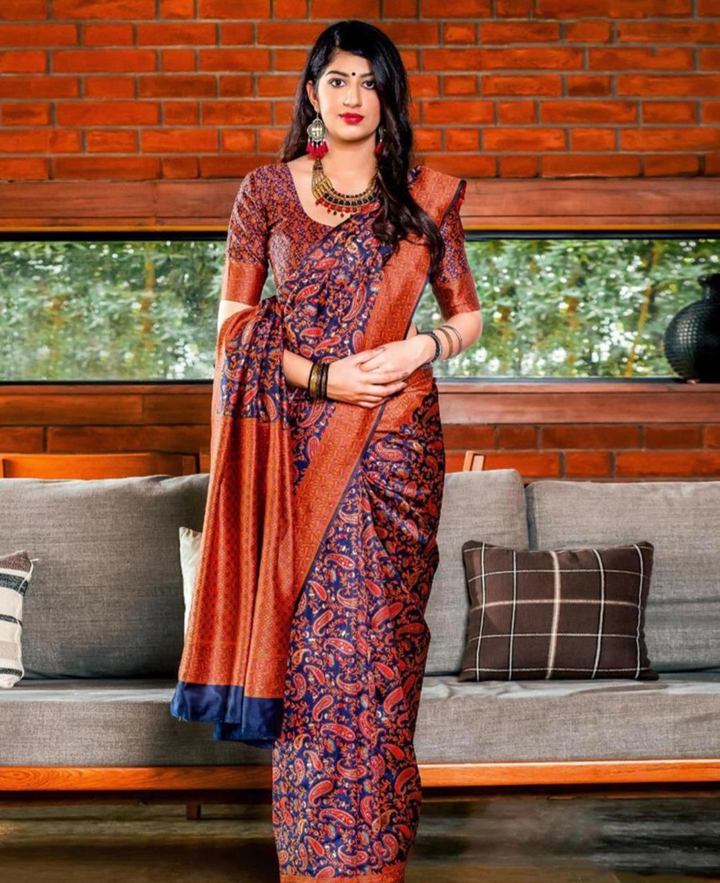Printed Banarasi Silk Saree (Sari) Blue
