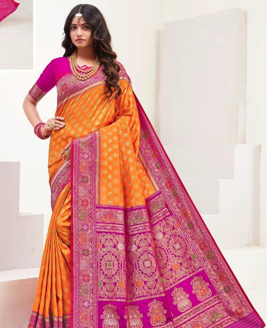 Printed Silk Saree in Orange