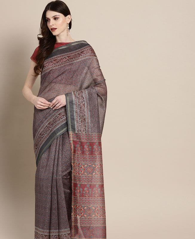 HandWorked Cotton Saree in Maroon