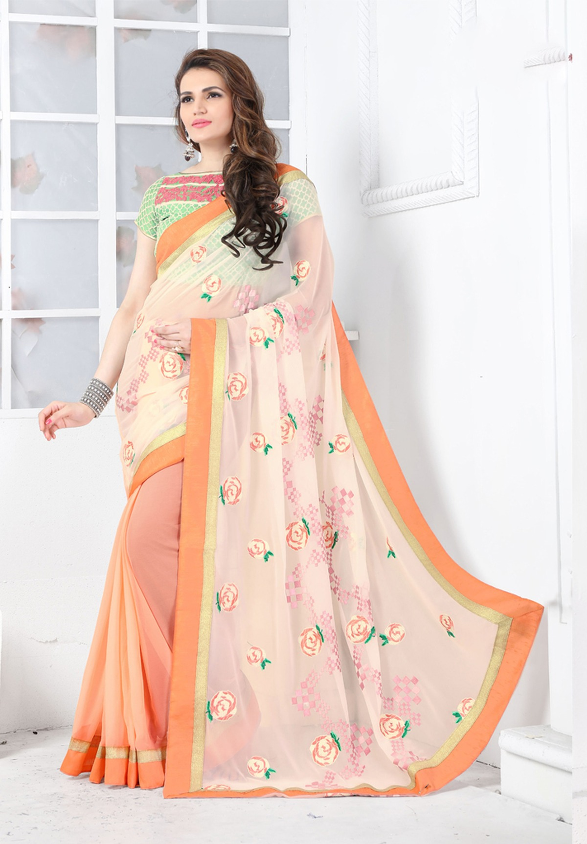 Printed Georgette Saree (Sari) in PeachPuff