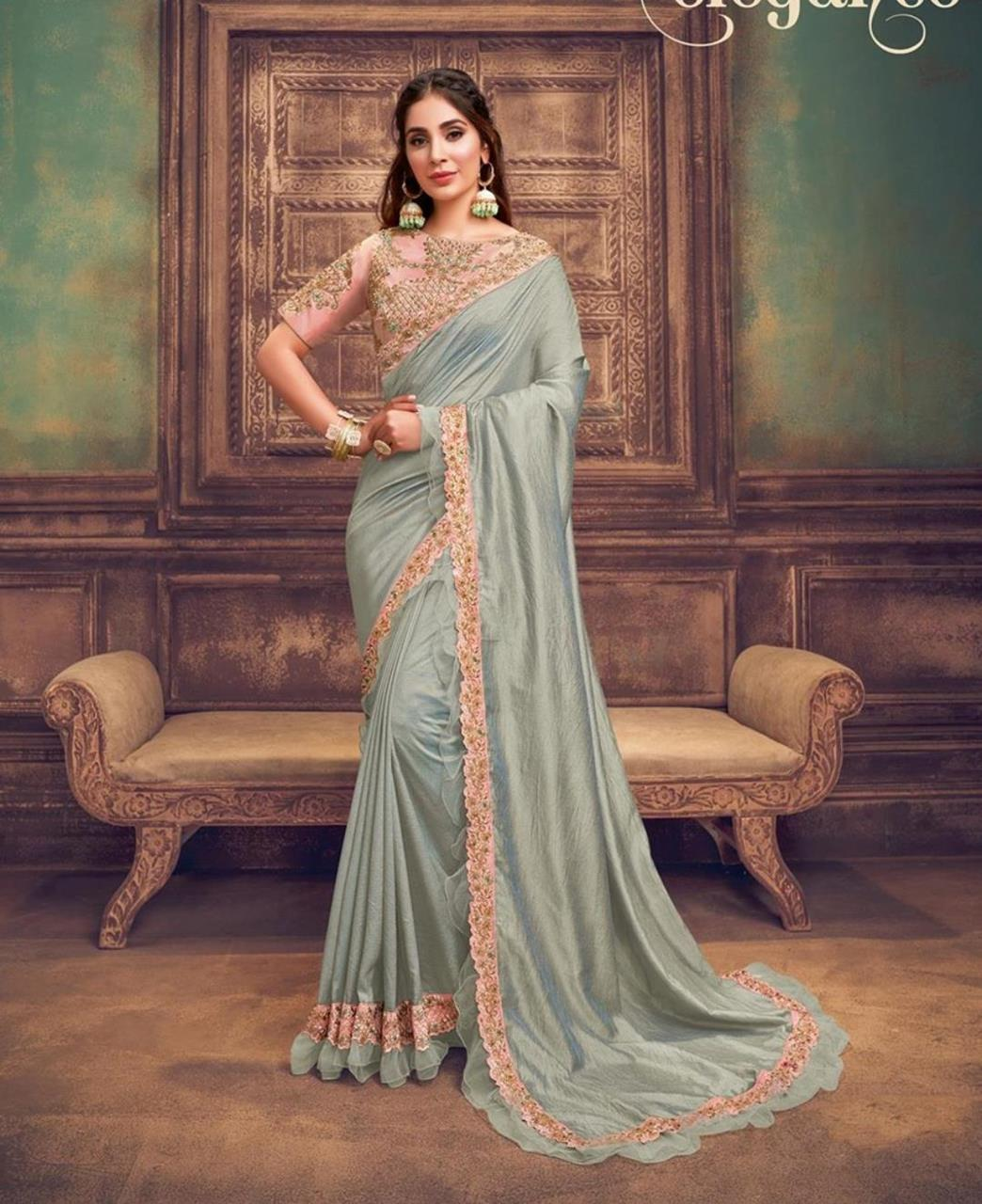 Sequins Silk Saree in Bluish Grey