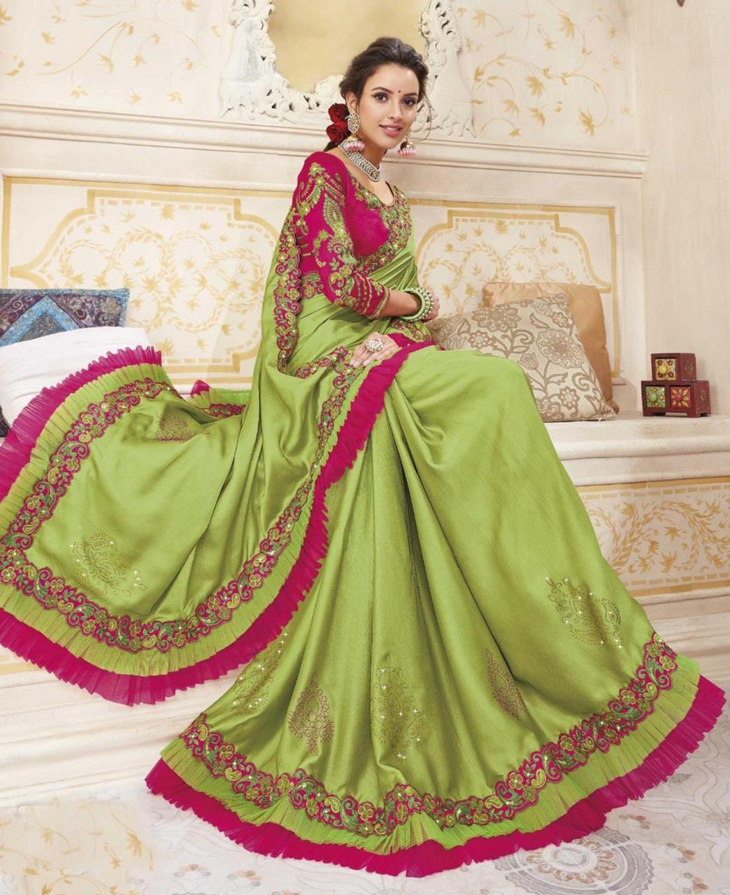 HandWorked Silk Saree in Light Green
