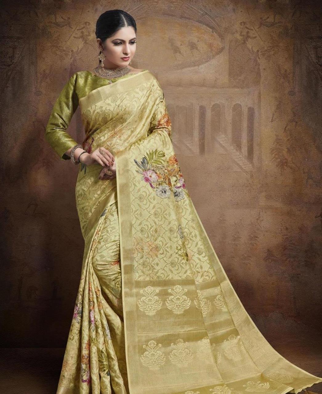Silk Saree in Light Yellow