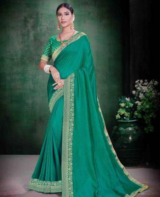Plain Silk Saree in Green