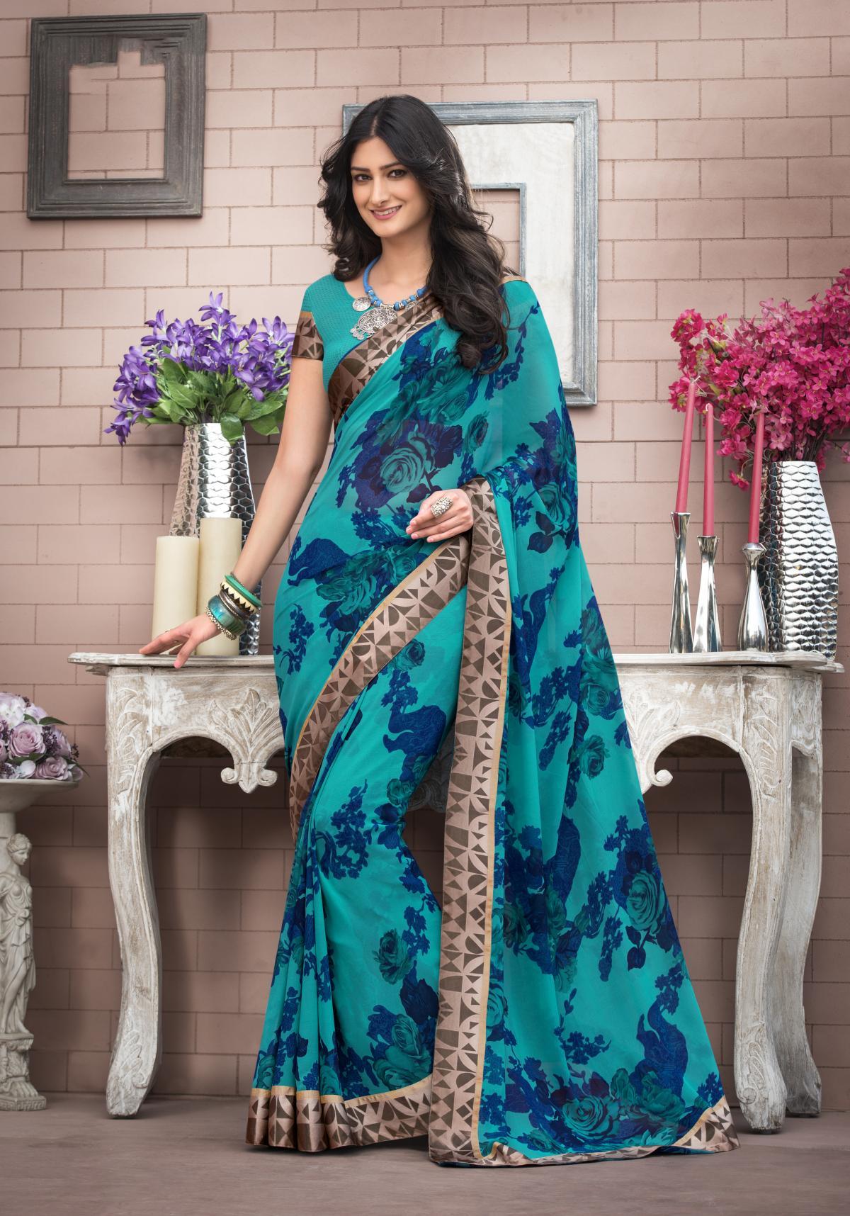 Printed Georgette Saree (Sari) in Blue