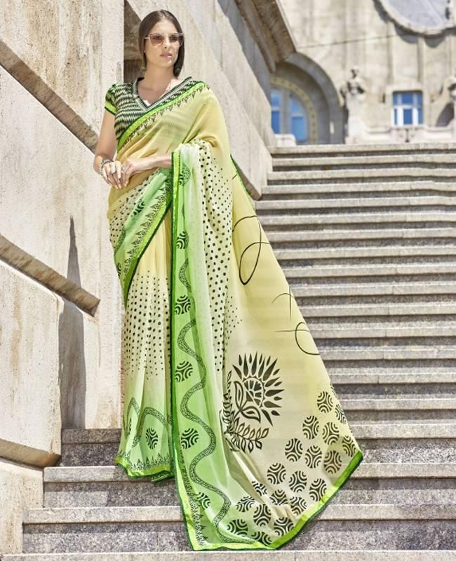 Printed Faux Georgette Saree (Sari) in Beige