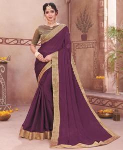 Plain Chiffon Saree in Purple