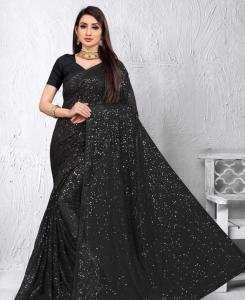 Sequins Georgette Saree in Black
