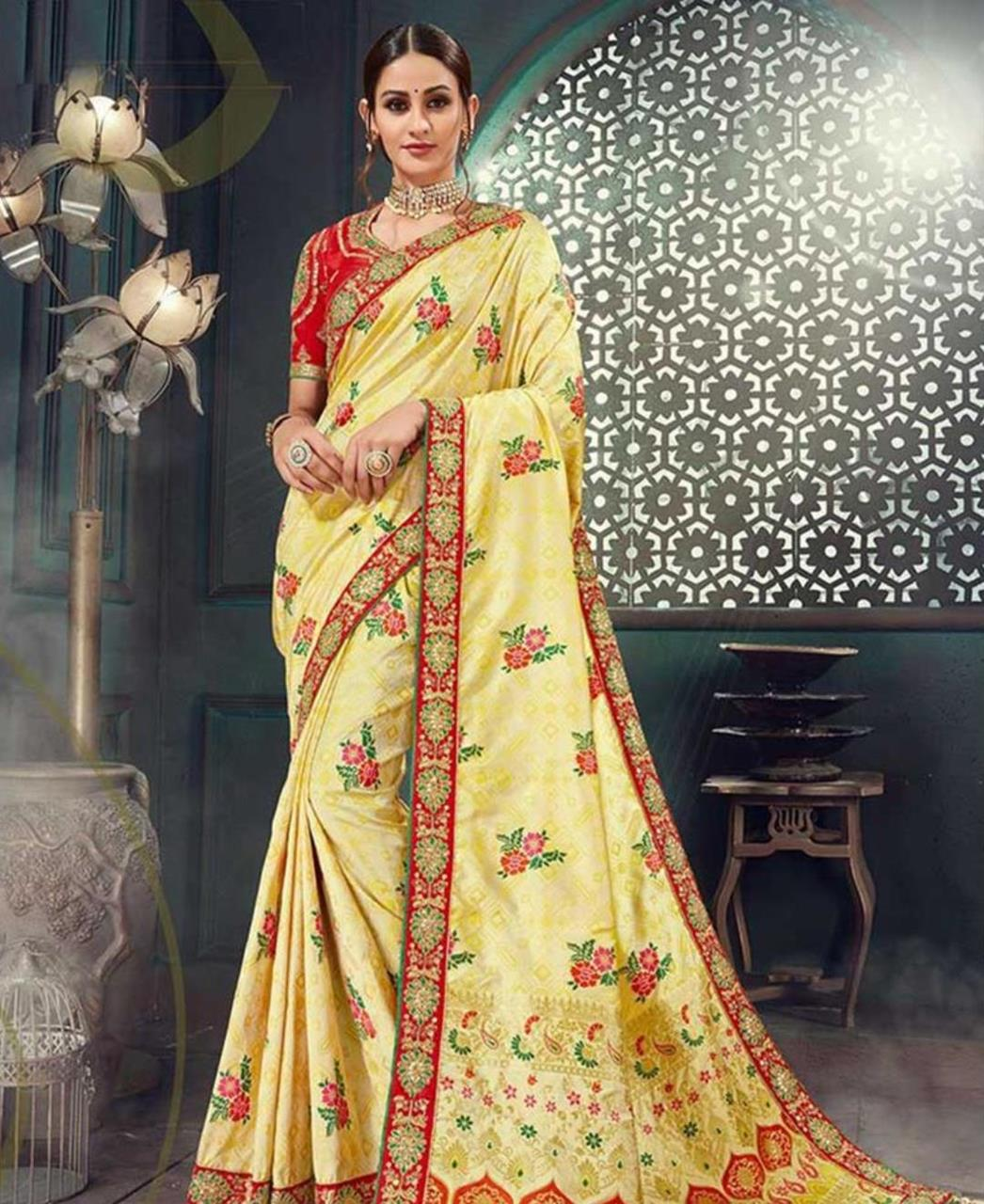 Embroidered Cotton Saree in Yellow