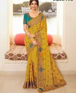 Lace Silk Saree in Mustard