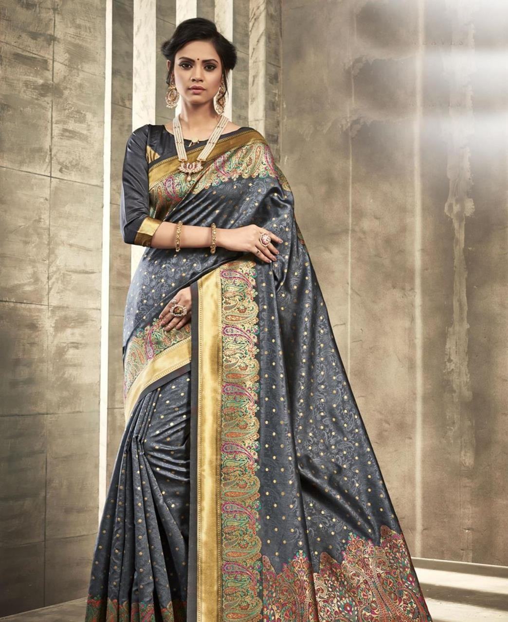 Printed Silk Saree in Black
