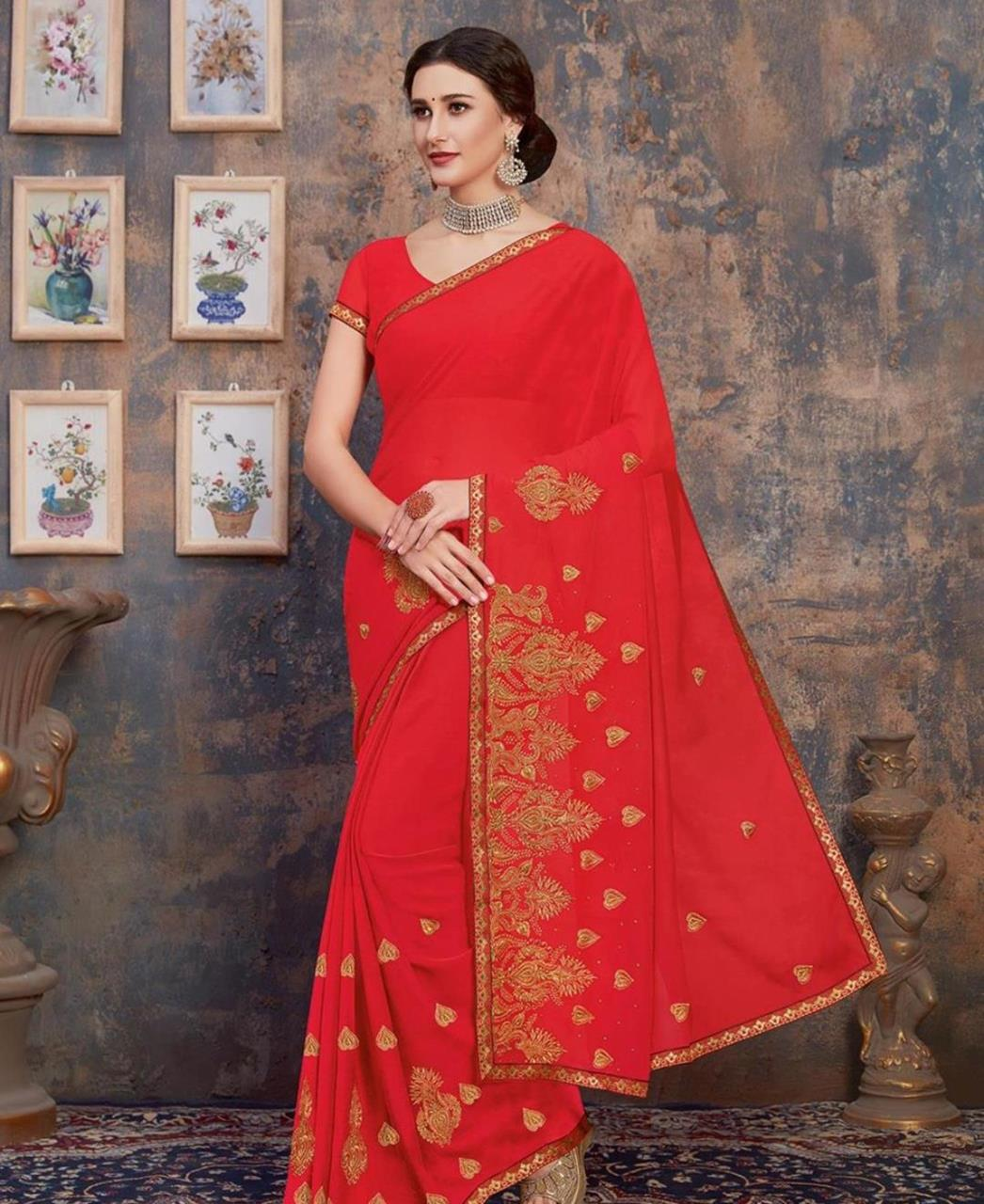 Stone Work Georgette Saree in Crimson Red