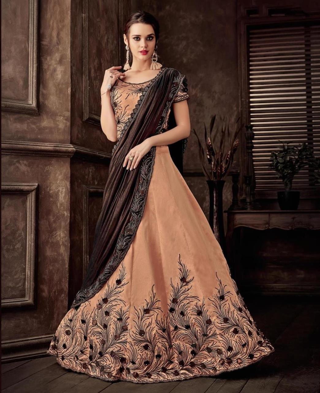 Thread Work Silk Saree(Sari) in PeachPuff