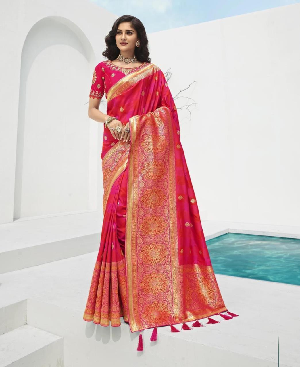 Stone Work Silk Saree in Rani Pink