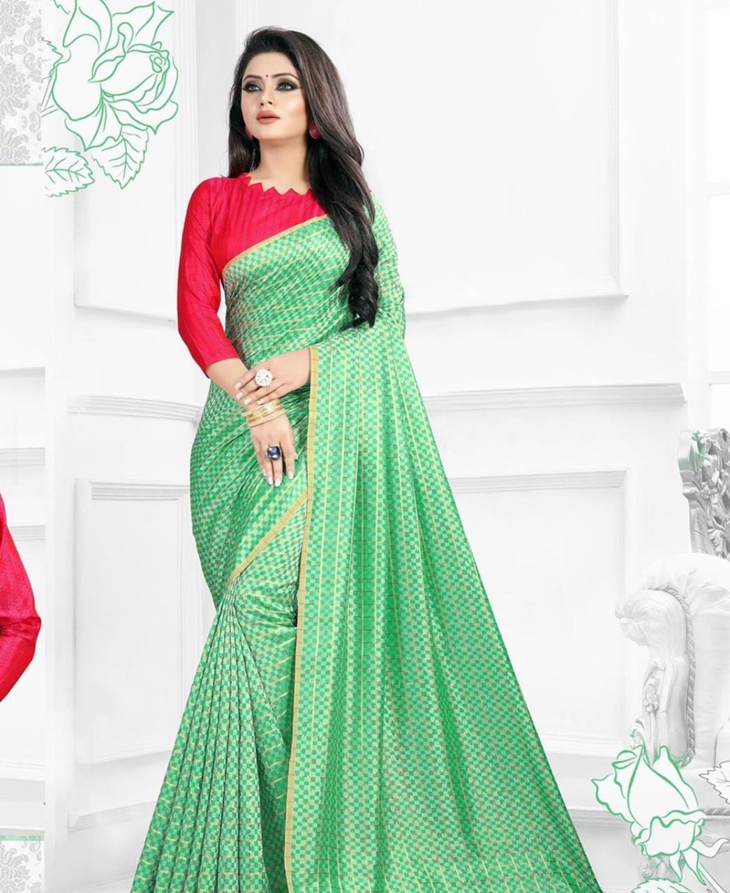 Printed Silk Saree (Sari) in Green