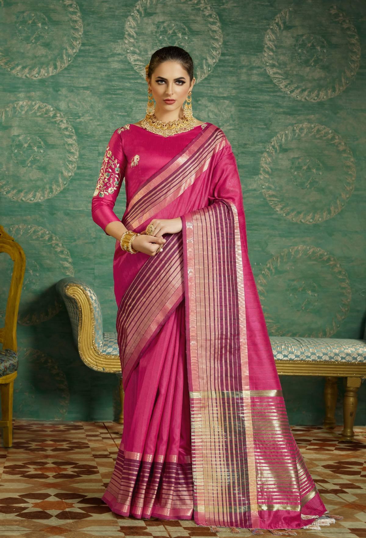 Thread Art Silk Saree in Pink