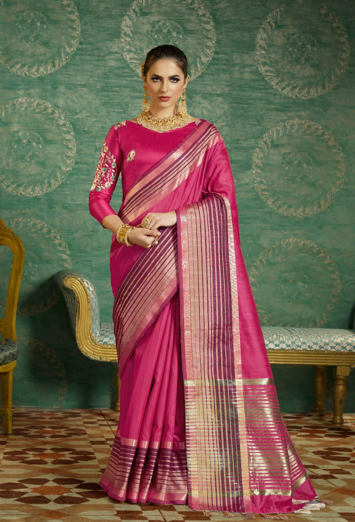 Thread Art Silk Saree in Pink