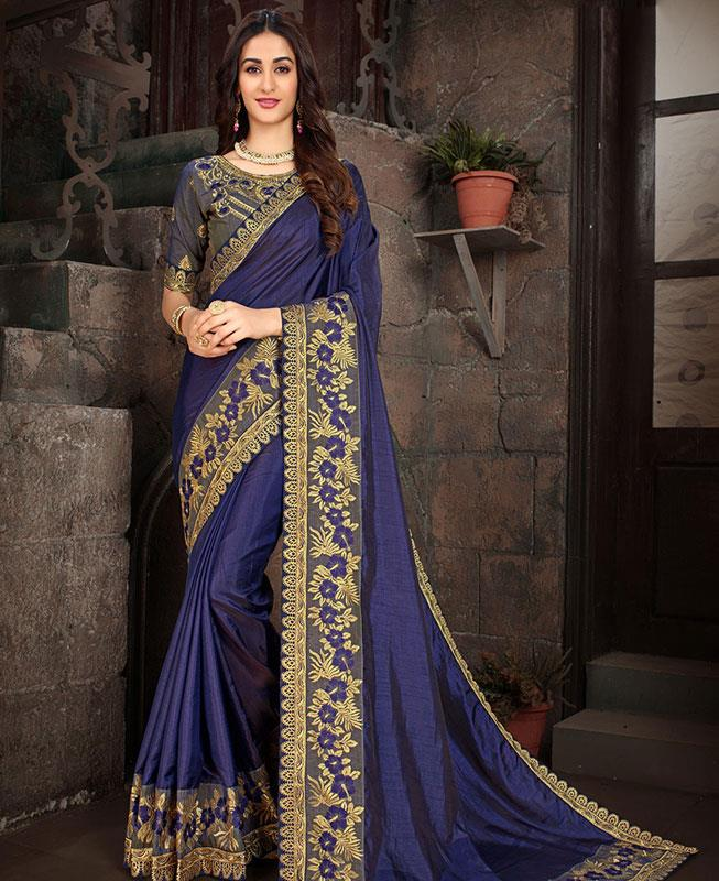 Embroidered Art Silk Saree (Sari) in DarkBlue